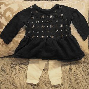 Cherokee Snowflake Top with Tutu Glitter Pants 3M